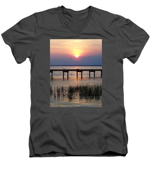 Men's V-Neck T-Shirt featuring the photograph Outerbanks Nc Sunset by Sandi OReilly