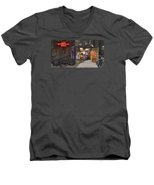 Outside The Motorcycle Shop Men's V-Neck T-Shirt