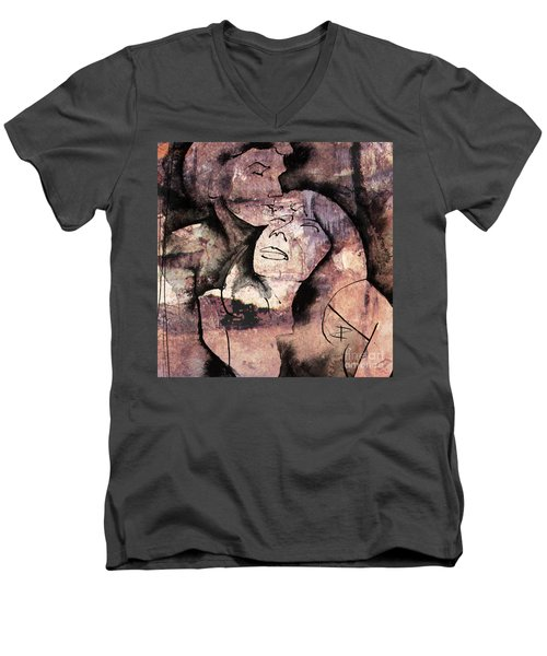 Men's V-Neck T-Shirt featuring the painting Overlaps I by Paul Davenport
