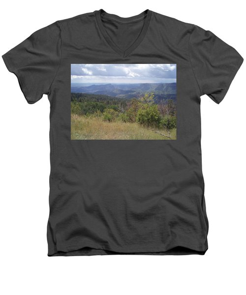 Men's V-Neck T-Shirt featuring the photograph Overlook Into The Mist by Fortunate Findings Shirley Dickerson