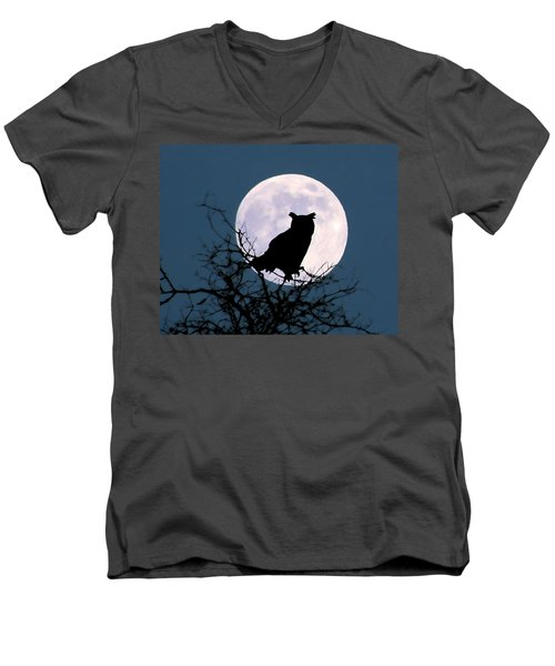 Owl And Blue Moon Men's V-Neck T-Shirt