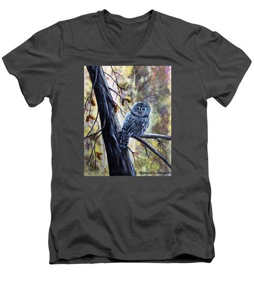 Men's V-Neck T-Shirt featuring the painting Owl by Bozena Zajaczkowska