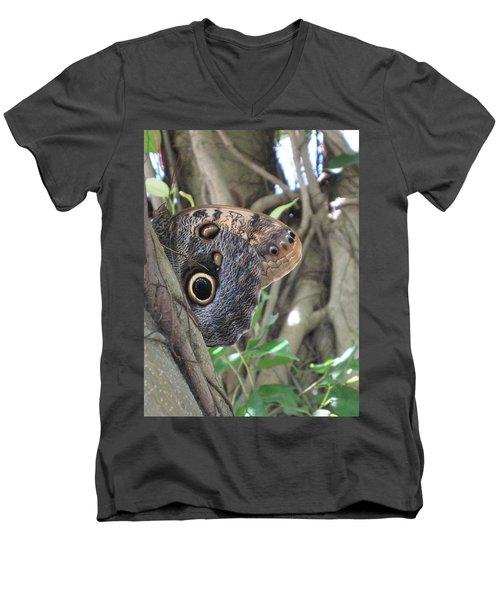 Owl Butterfly In Hiding Men's V-Neck T-Shirt