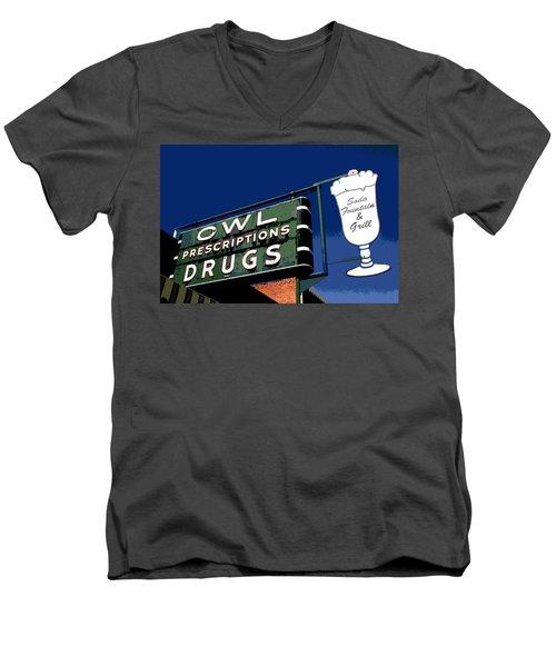 Owl Drugs  Men's V-Neck T-Shirt