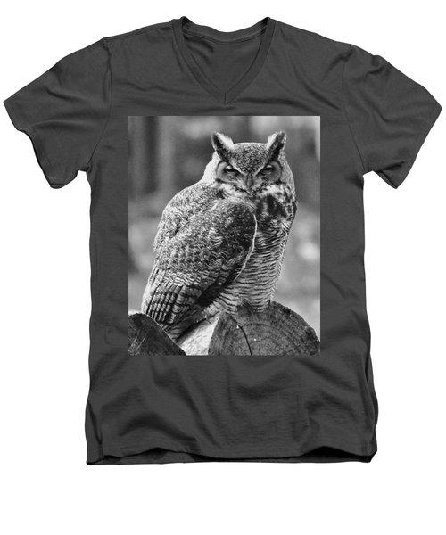 Owl In Black And White Men's V-Neck T-Shirt