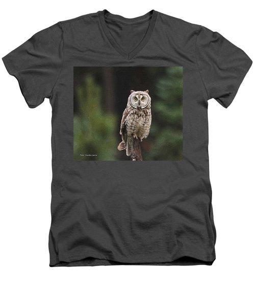 Owl In The Forest Visits Men's V-Neck T-Shirt by Tom Janca