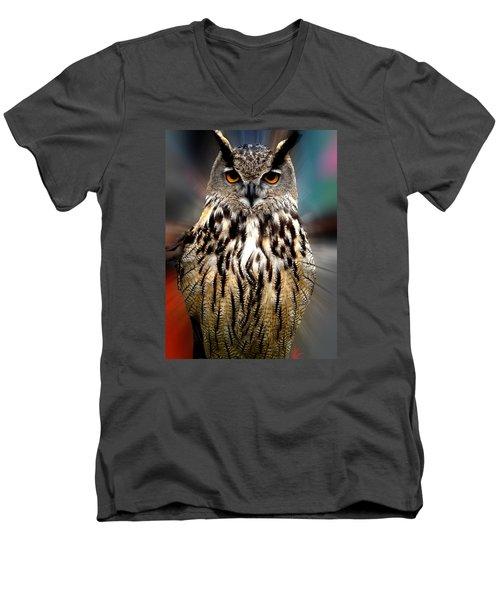 Owl Living In The Spanish Mountains Men's V-Neck T-Shirt