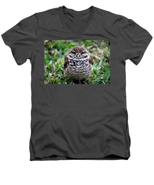 Men's V-Neck T-Shirt featuring the photograph Owl. Best Photo by Oksana Semenchenko