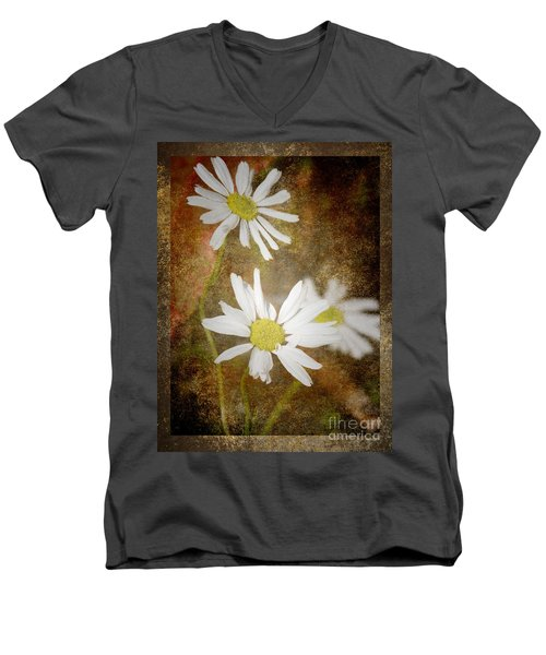 Ox Eye Dasies Men's V-Neck T-Shirt by Lynn Bolt