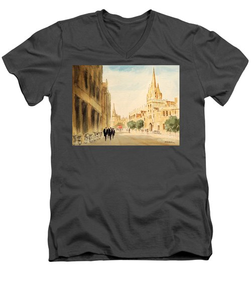 Men's V-Neck T-Shirt featuring the painting Oxford High Street by Bill Holkham
