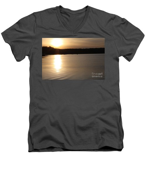 Men's V-Neck T-Shirt featuring the photograph Oyster Bay Sunset by John Telfer