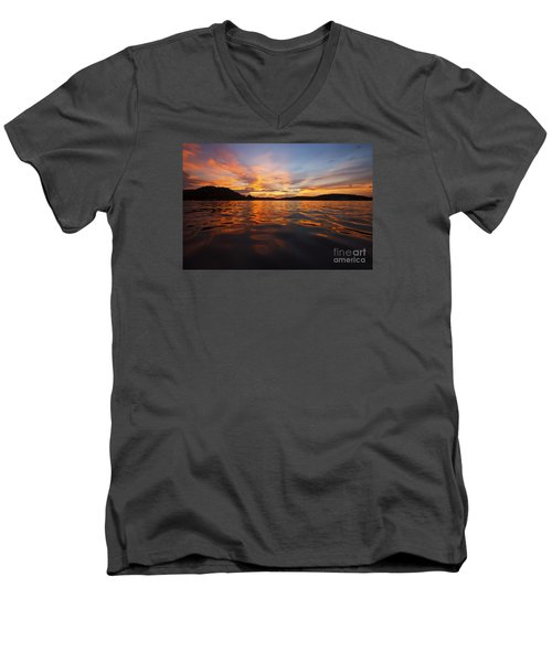Ozark Sunset Men's V-Neck T-Shirt by Dennis Hedberg