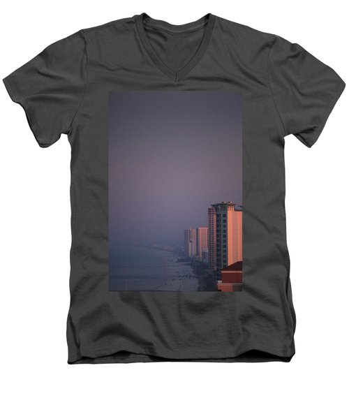 Panama City Beach In The Morning Mist Men's V-Neck T-Shirt