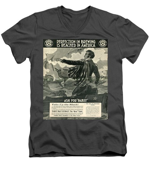 Men's V-Neck T-Shirt featuring the digital art Pabst by Cathy Anderson