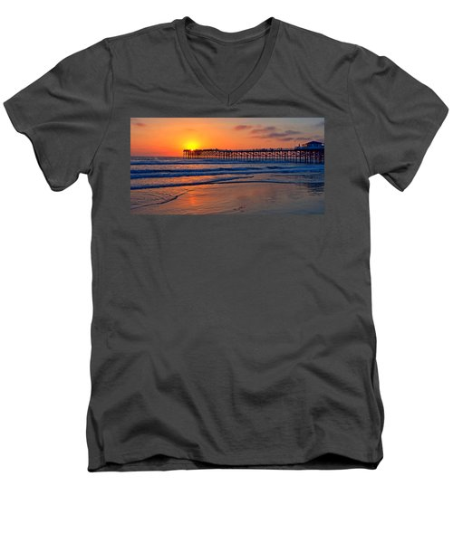 Pacific Beach Pier - Ex Lrg - Widescreen Men's V-Neck T-Shirt by Peter Tellone