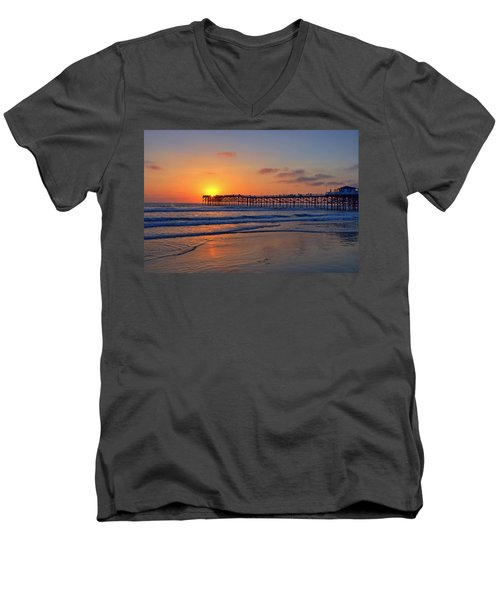 Pacific Beach Pier Sunset Men's V-Neck T-Shirt by Peter Tellone