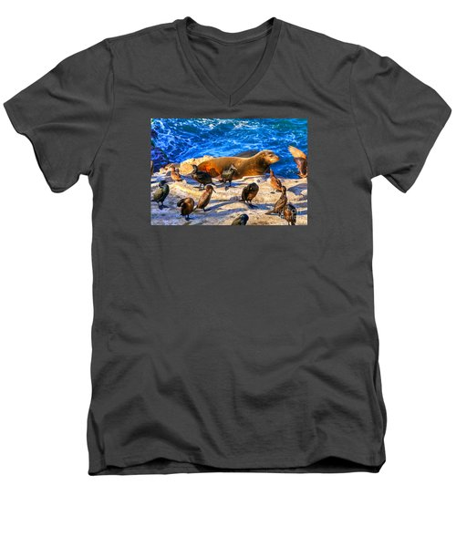 Men's V-Neck T-Shirt featuring the photograph Pacific Harbor Seal by Jim Carrell