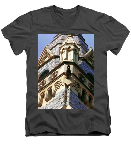 Men's V-Neck T-Shirt featuring the photograph Packer Memorial Church Detail by Jacqueline M Lewis