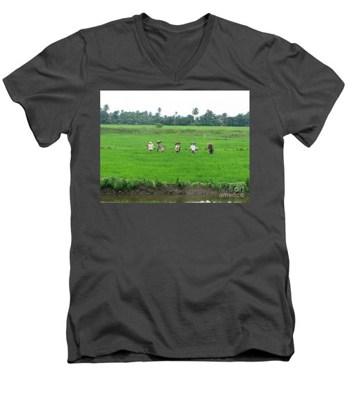 Paddy Field Workers Men's V-Neck T-Shirt