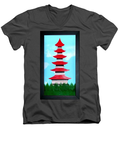 Men's V-Neck T-Shirt featuring the mixed media Pagoda by Ron Davidson