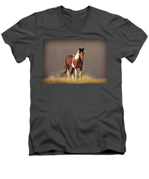 Paint Filly Wild Mustang Sepia Sky Men's V-Neck T-Shirt