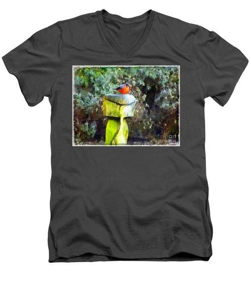 Painted Bullfinch S2 Men's V-Neck T-Shirt