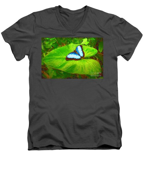Men's V-Neck T-Shirt featuring the photograph Painted Blue Morpho by Teresa Zieba