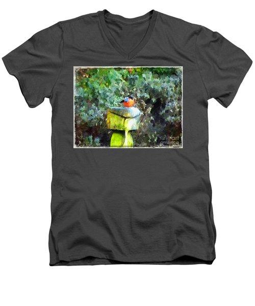 Painted Bullfinch S1 Men's V-Neck T-Shirt