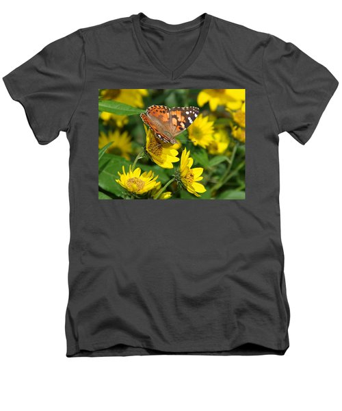 Men's V-Neck T-Shirt featuring the photograph Painted Lady by James Peterson