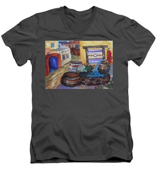 Painted Pots And Chili Peppers II  Men's V-Neck T-Shirt by Ellen Levinson