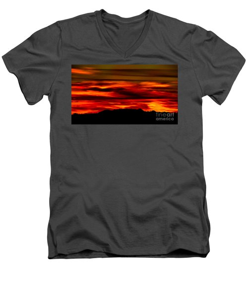 Men's V-Neck T-Shirt featuring the photograph Painted Sky 34 by Mark Myhaver