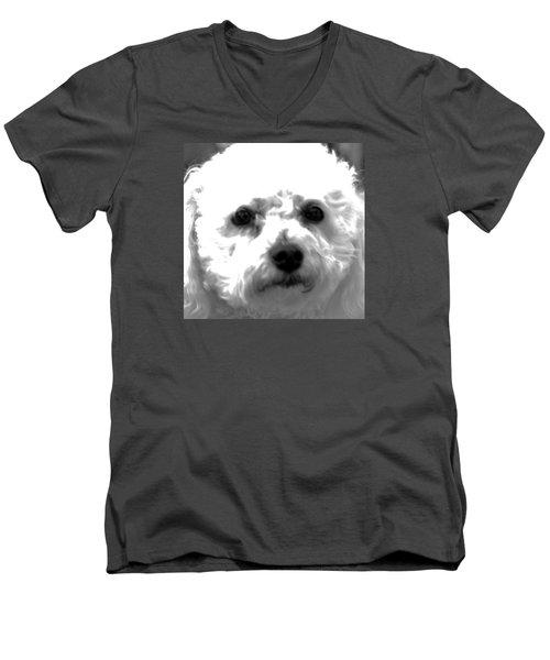 Men's V-Neck T-Shirt featuring the photograph Painterly Bichon Frise by Patrice Zinck