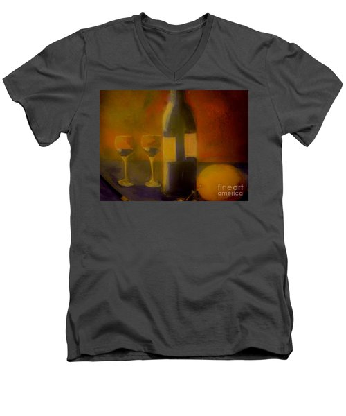 Men's V-Neck T-Shirt featuring the painting Painting And Wine by Lisa Kaiser