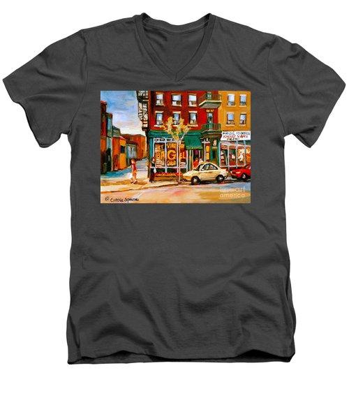 Paintings Of  Famous Montreal Places St. Viateur Bagel City Scene Men's V-Neck T-Shirt