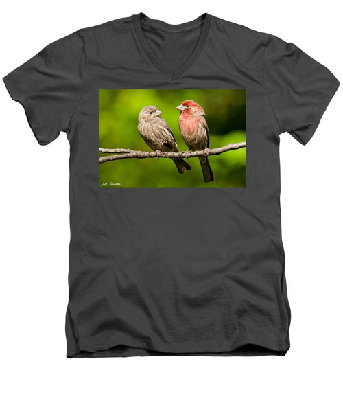 Pair Of House Finches In A Tree Men's V-Neck T-Shirt
