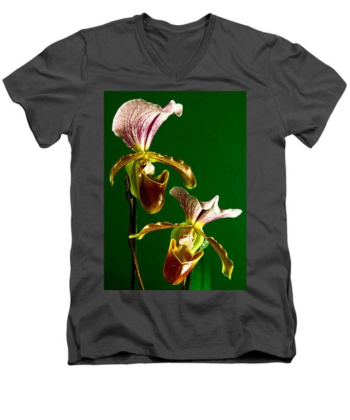 Men's V-Neck T-Shirt featuring the photograph Pair Of Lady Slipper Orchids by Elf Evans