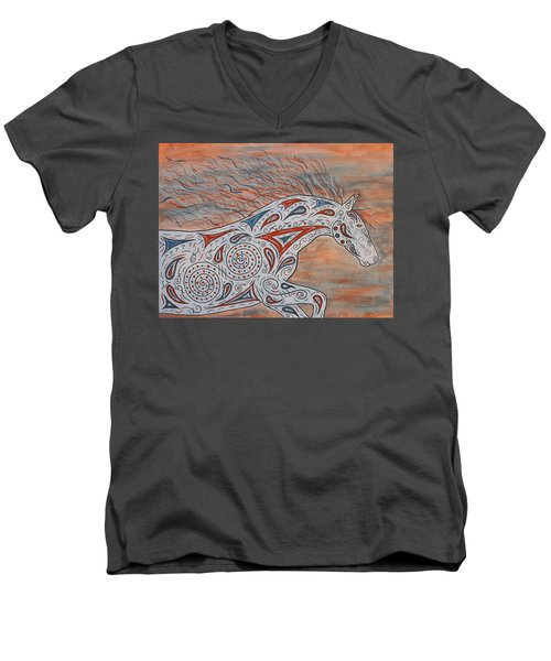 Men's V-Neck T-Shirt featuring the painting Paisley Spirit by Susie WEBER