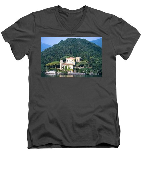 Men's V-Neck T-Shirt featuring the photograph Palace At Lake Como Italy by Greta Corens