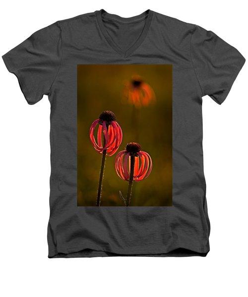 Pale Purple Cone Flowers Men's V-Neck T-Shirt
