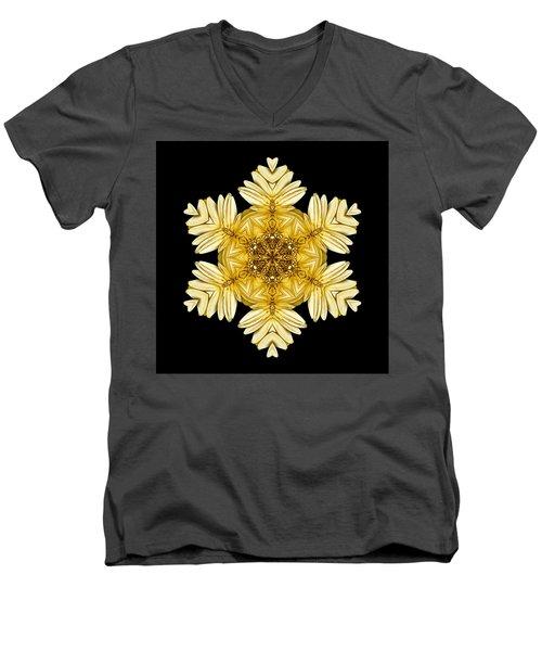 Pale Yellow Gerbera Daisy Vii Flower Mandalaflower Mandala Men's V-Neck T-Shirt