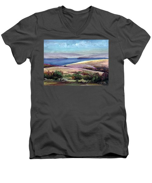 Men's V-Neck T-Shirt featuring the painting Palestine View by Mikhail Savchenko