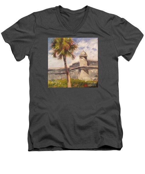 Palm At St. Augustine Castillo Fort Men's V-Neck T-Shirt by Mary Hubley