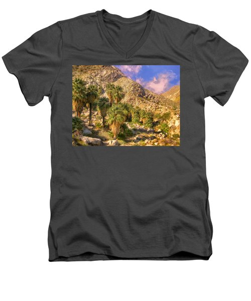 Palm Oasis In Late Afternoon Men's V-Neck T-Shirt