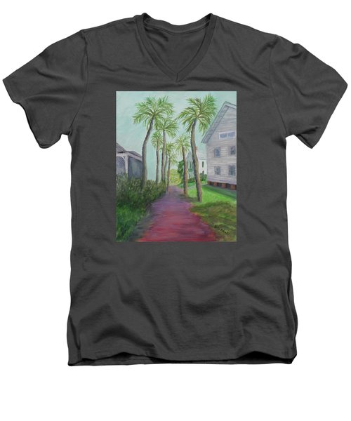 Palm Row In St. Augustine Florida Men's V-Neck T-Shirt