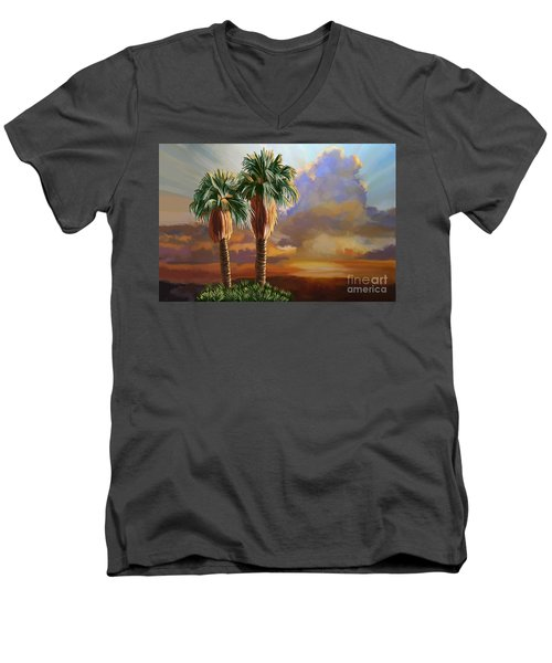 Men's V-Neck T-Shirt featuring the painting Palm Tree Cabo Sunset by Tim Gilliland