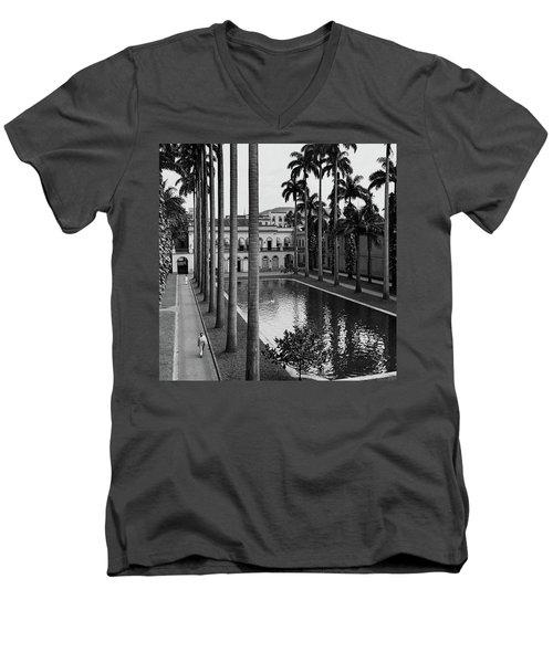 Palm Trees Bordering A Pool Men's V-Neck T-Shirt