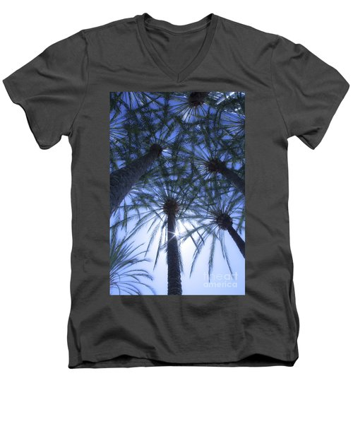 Men's V-Neck T-Shirt featuring the photograph Palm Trees In The Sun by Jerry Cowart