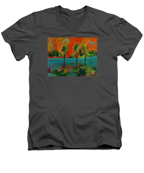 Palm Trio Sunset Men's V-Neck T-Shirt by Elizabeth Fontaine-Barr