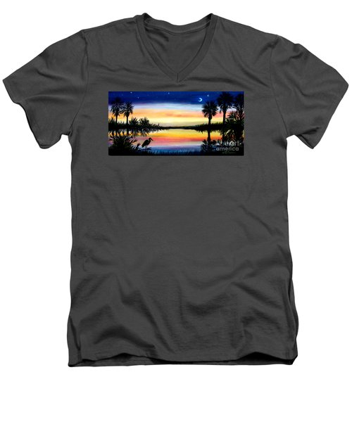 Palmetto Tree Moon And Stars Low Country Sunset IIi Men's V-Neck T-Shirt by Patricia L Davidson