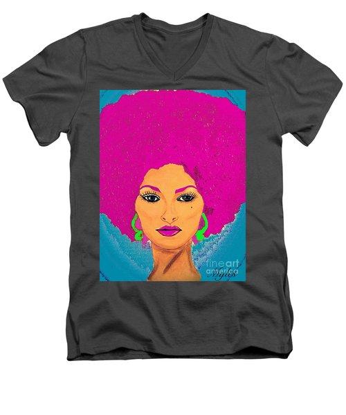 Pam Grier Bold Diva C1979 Pop Art Men's V-Neck T-Shirt by Saundra Myles